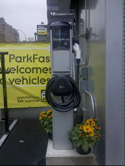 Coulomb Technologies installed its first public ChargePoint station in a parking lot near Port Authority in New York.