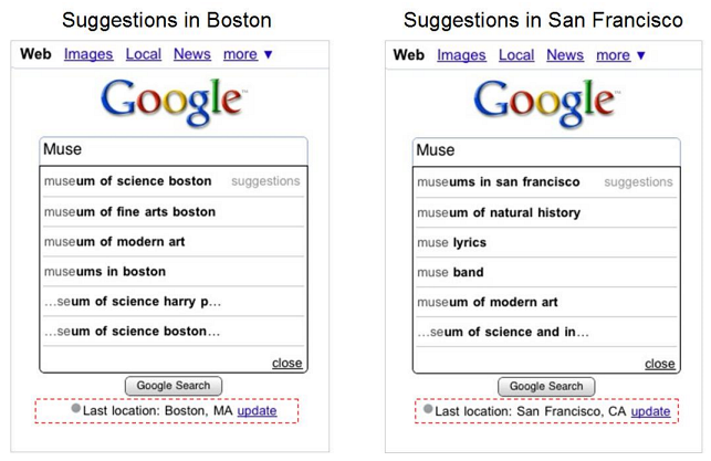 Google's localized search suggestions for iPhone and Android