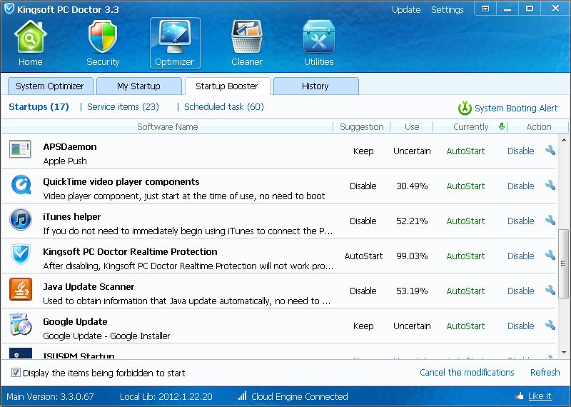 PC Doctor Startup Booster scan results