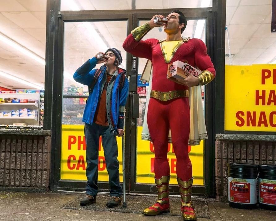 Actors Zachary Levi and Jack Dylan Grazer in the movie Shazam.