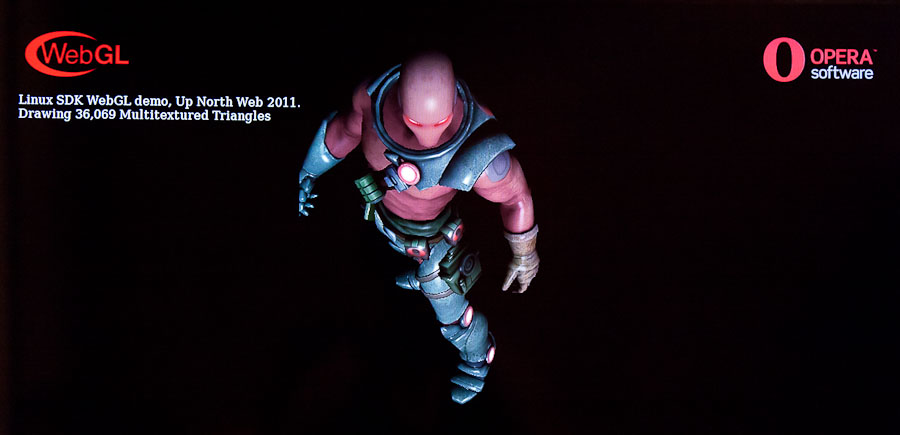 Opera showed this WebGL demonstration of a walking 3D figure at its Up North Web event. Opera 12 will support the WebGL technology for 3D graphics among other hardware-accelerated features