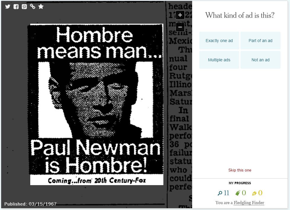 New York Times Paul Newman ad