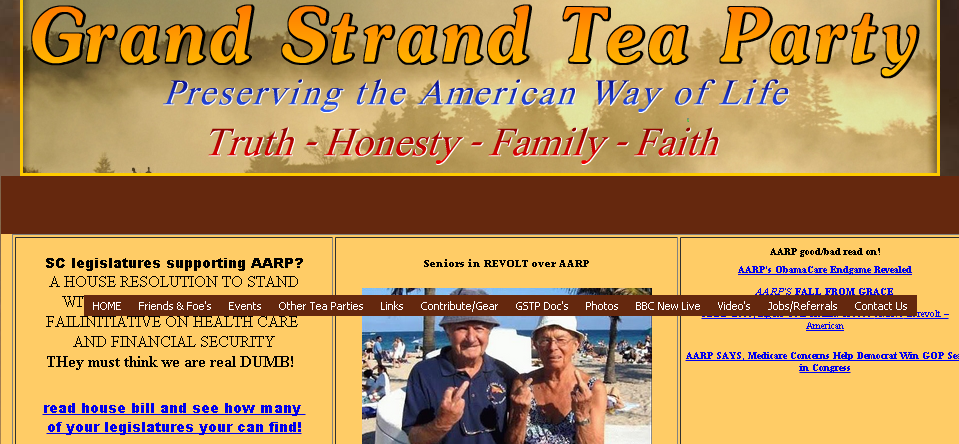 A cached version of the Grand Strand Tea Party home page. The site was inaccessible today.