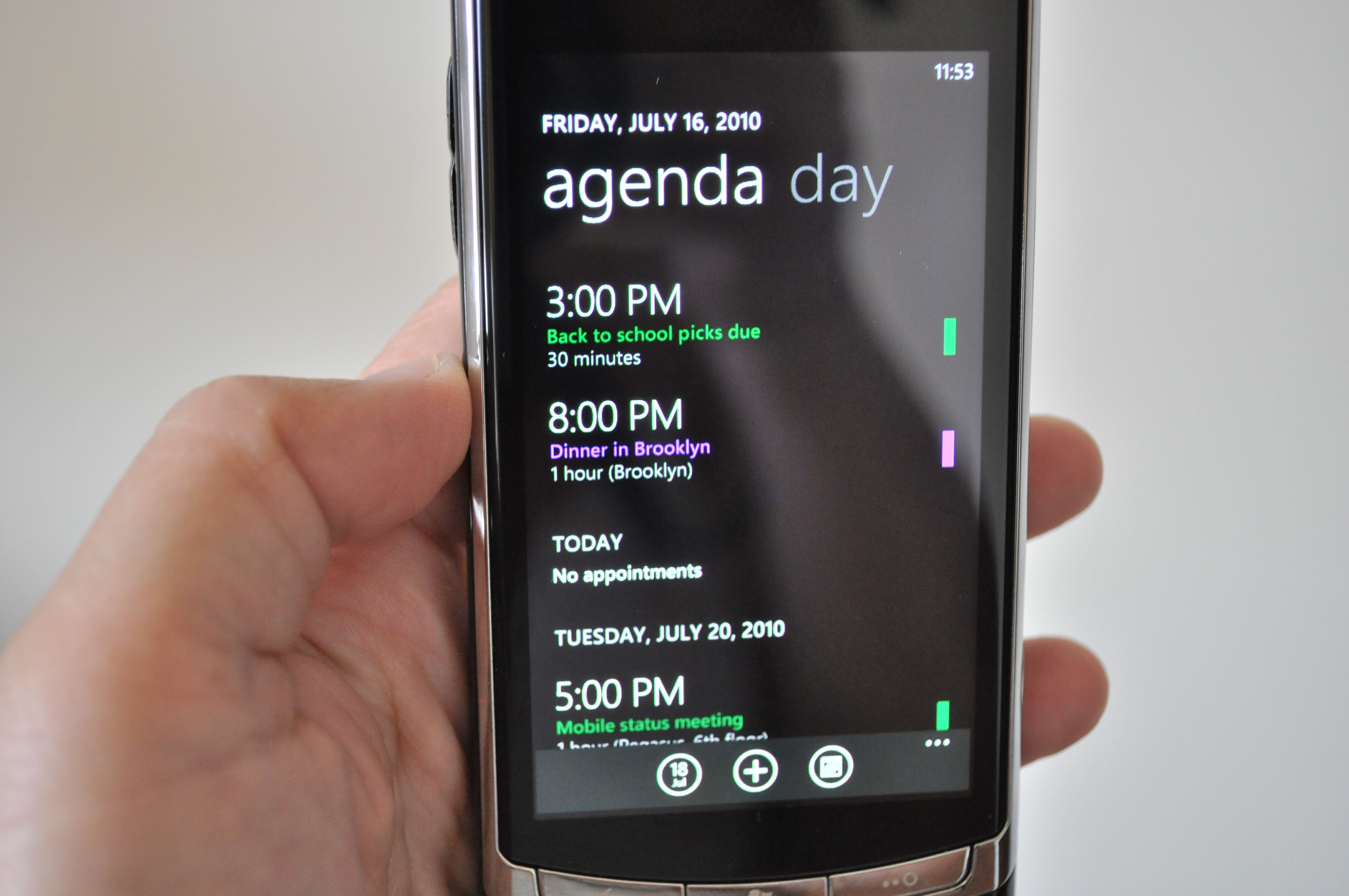 Windows Phone 7 offers combined calendars with a simple yet elegant agenda view.
