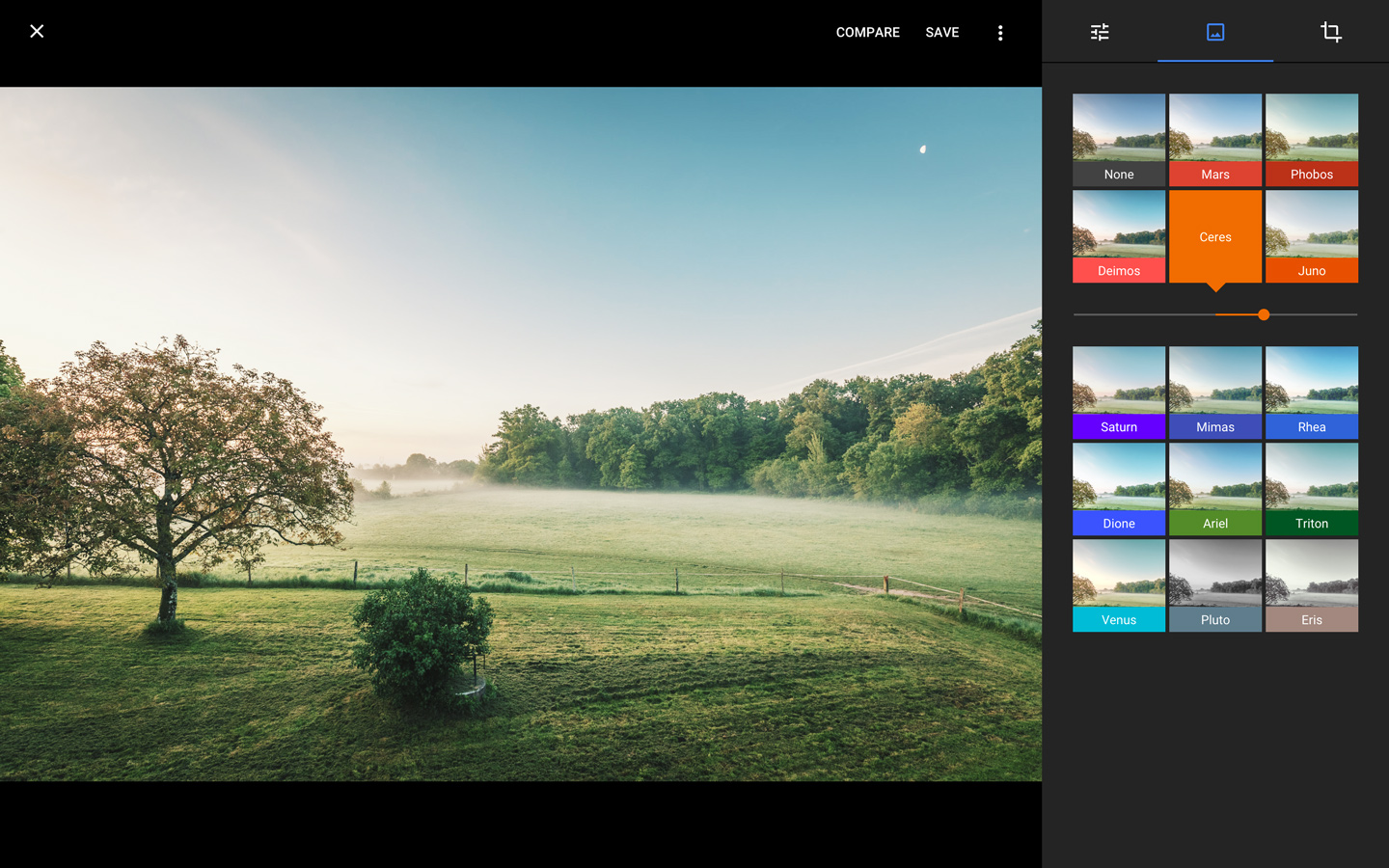Google Photos' browser-based editing tools offer the same set of adjustable filters.