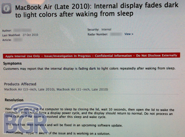 Purportedly an internal memo to Apple's customer support staff, it appears to confirm that the Air's reported display issues are for real.