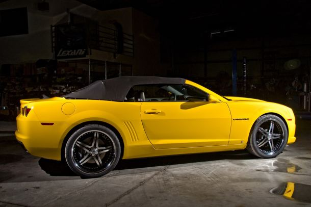 Custom Camaro convertible with the top up