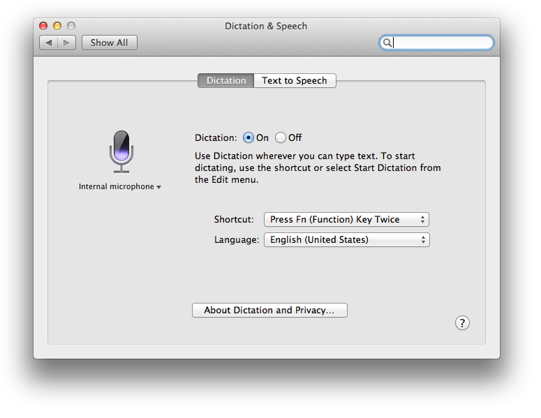 Dictation preferences in OS X