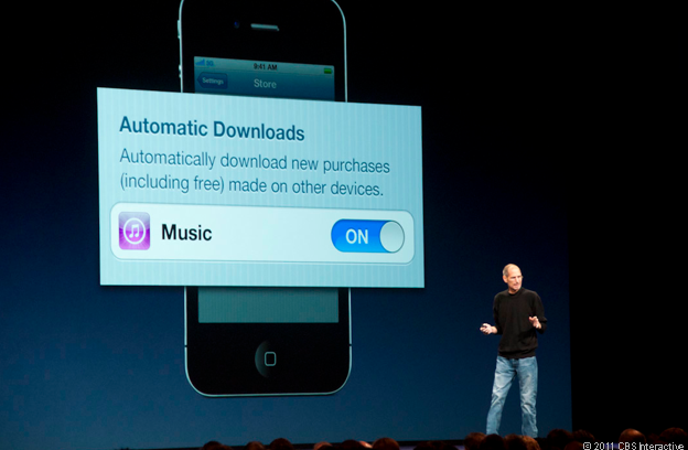 Late Apple CEO Steve Jobs unveils iCloud's music-syncing feature in San Francisco in 2011.