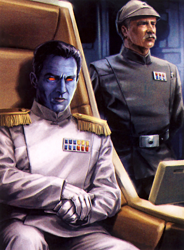 The blue-skinned Grand Admiral Thrawn is cunning, calculating, and would be a perfect role for Benedict Cumberbatch if a movie were ever to be made.