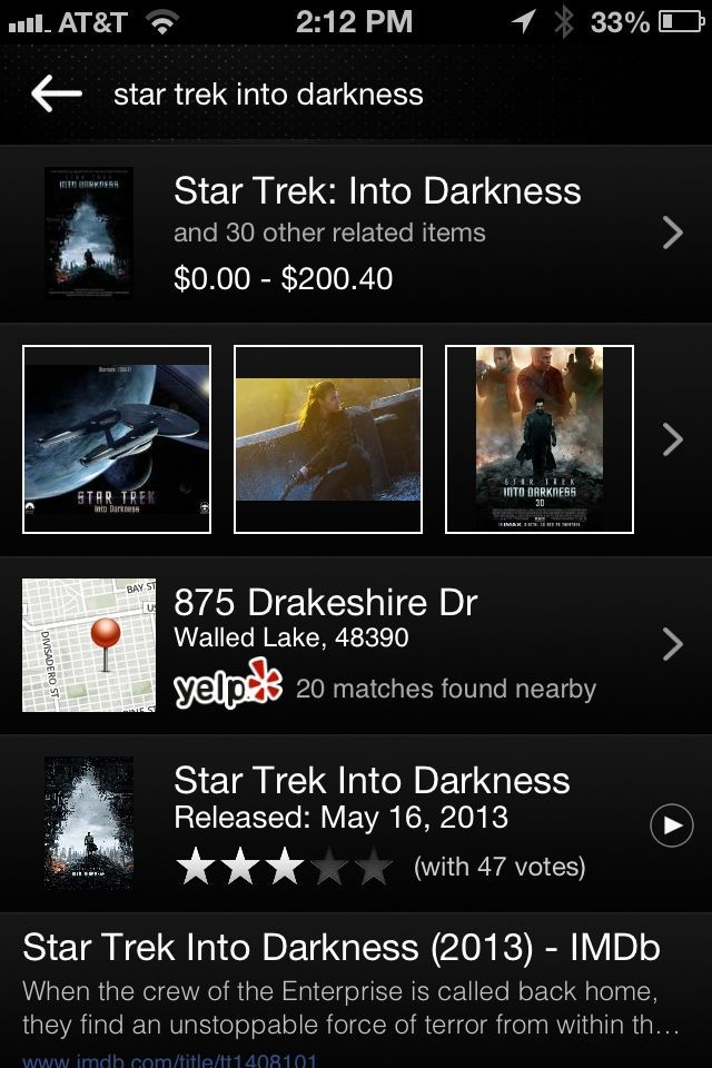"""CamFind is pretty cool, but why did it give me a Yelp listing for """"Star Trek"""" instead of local showtimes?"""