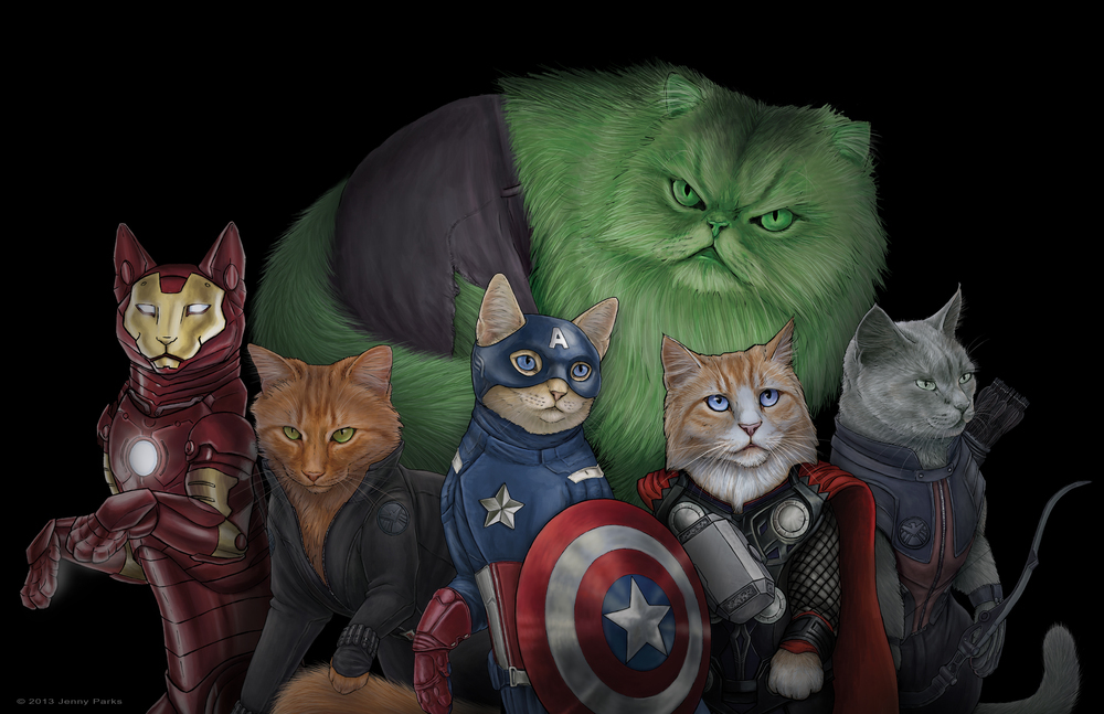 Artist Jenny Parks re-created the Avengers as the Catvengers with her portraits of the superheroes as felines.