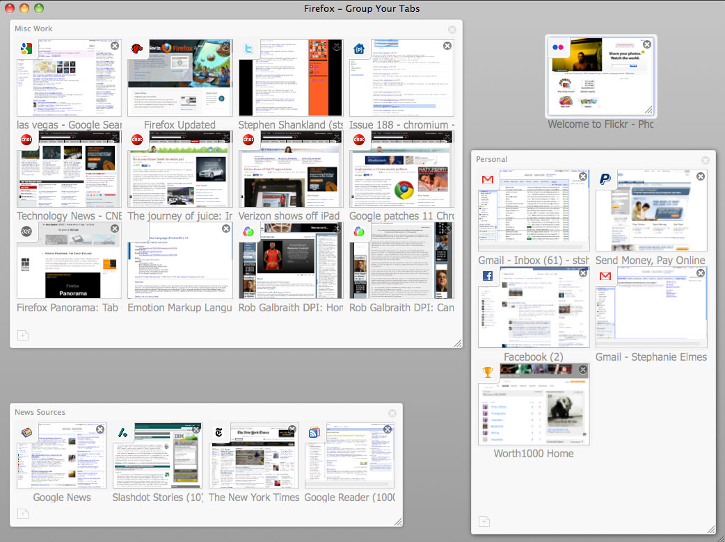Firefox Panorama lets people group tabs in a visual array in an attempt to bring some order to browser tab chaos.