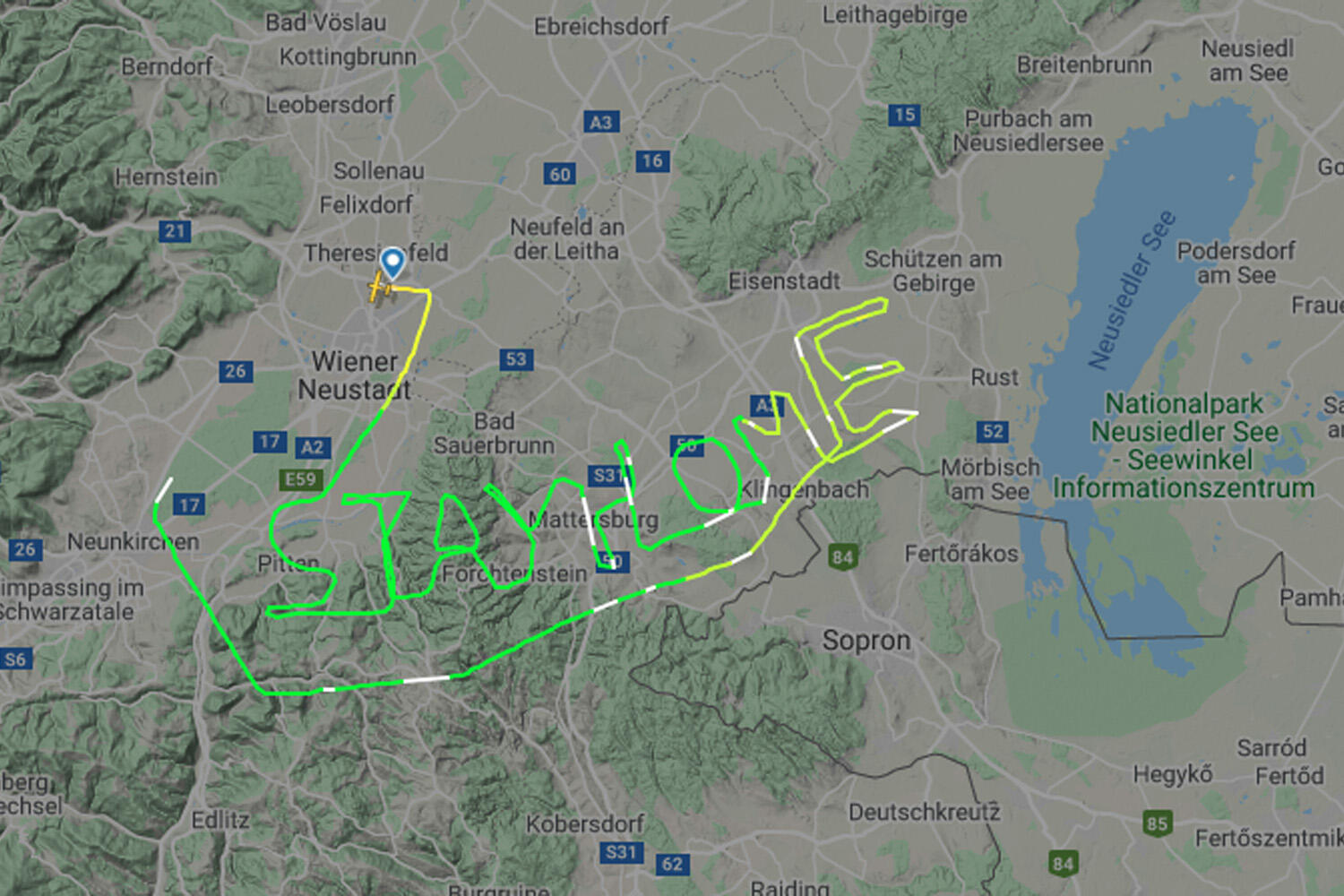 Flight tracker message