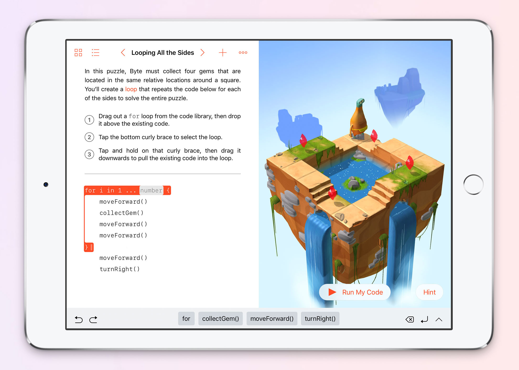 Swift Playgrounds includes lessons like programming a for loop that repeats a character's actions.