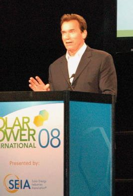 Arnold Schwarzenegger at solar conference