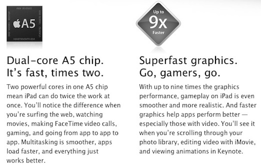 Apple is not only touting that the iPad 2 will be the first dual-core tablet to ship in volume but also making a lot of noise about the '9X' improvement in graphics processing.