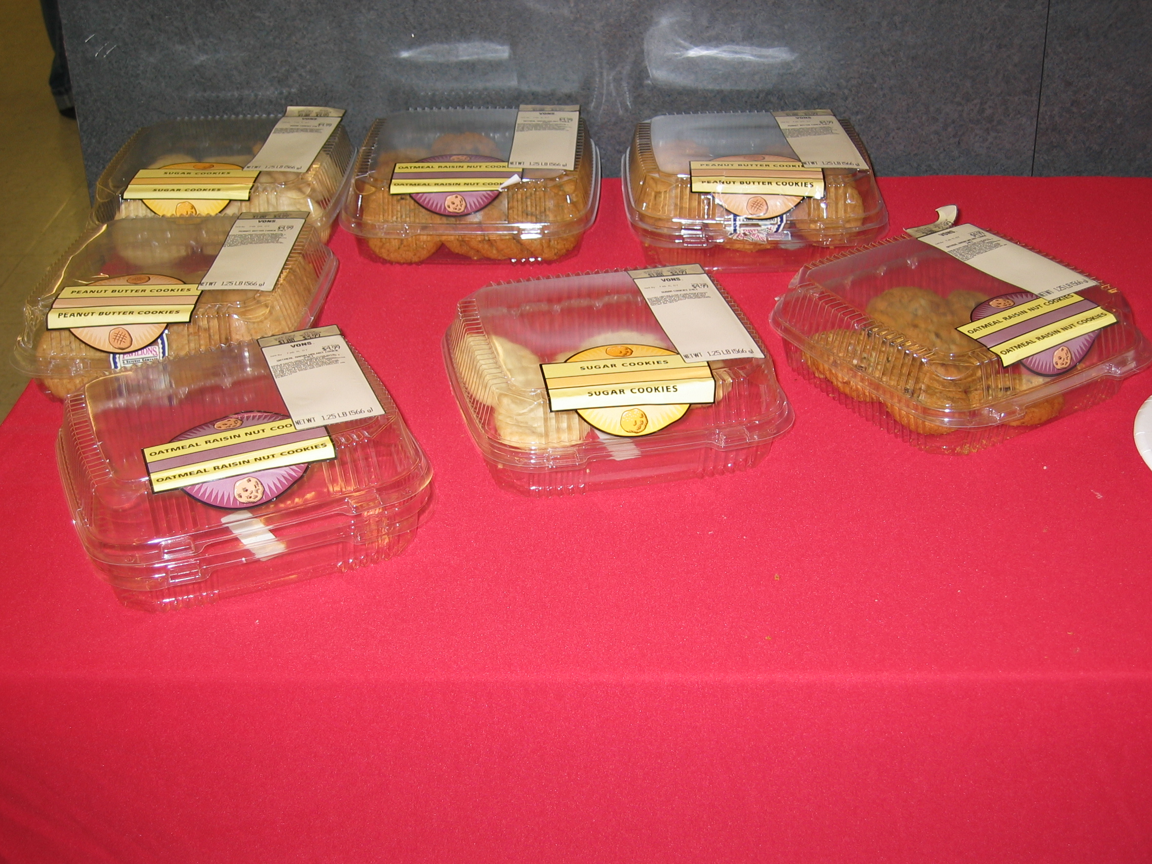 The free supermarket cookies remained largely untouched.