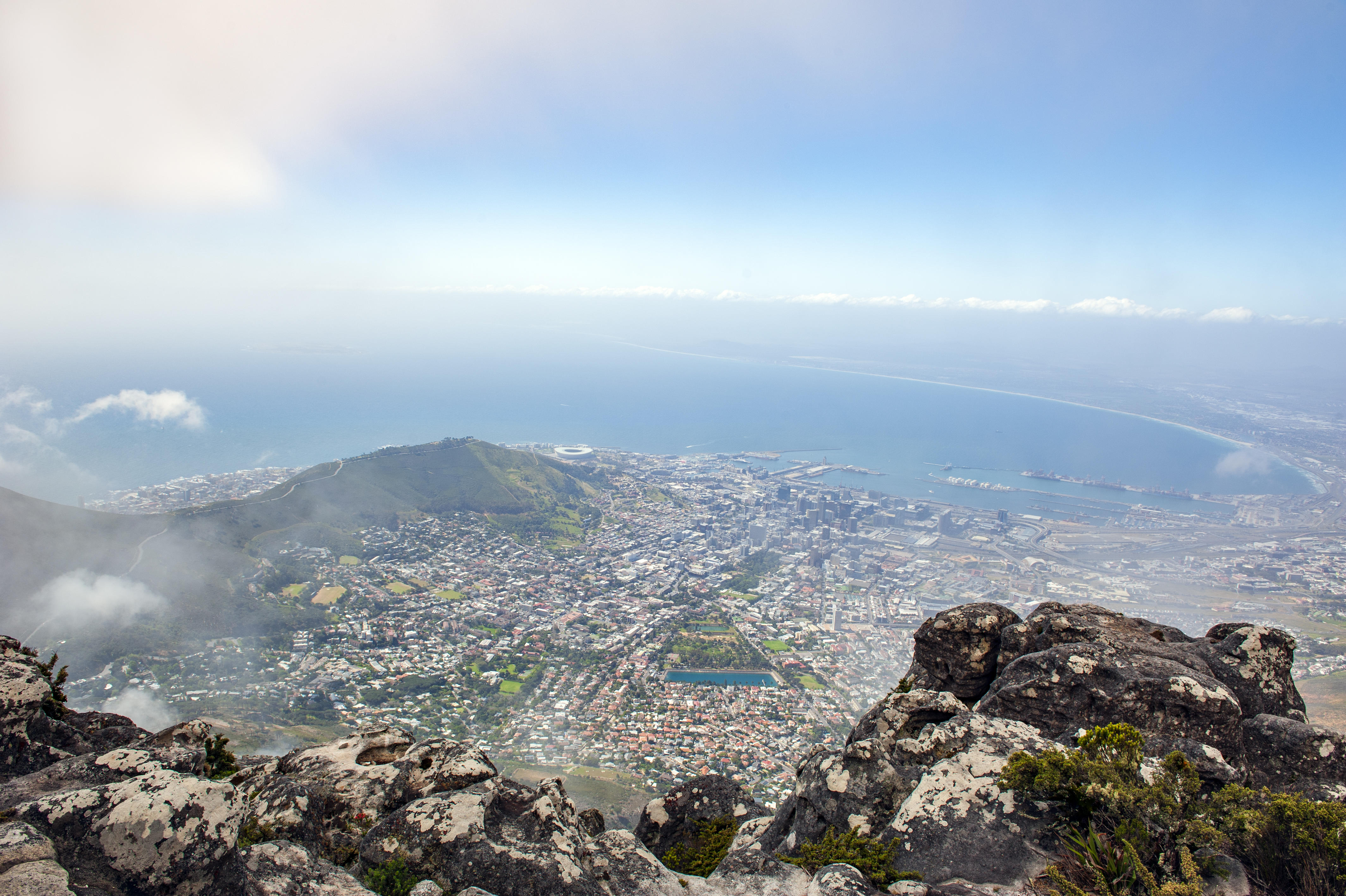 The city of Cape Town as seen from Table Mountain, flat-