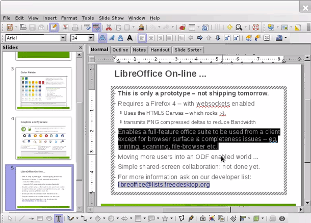 LibreOffice programmers are working to bring the LibreOffice suite, whose presentation module is shown here, to iOS, Android, and browsers.