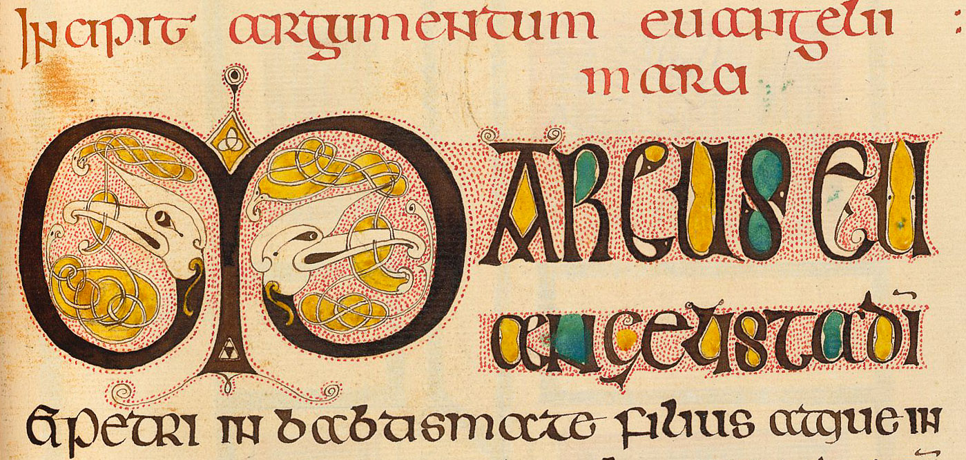 M is for Marcus: a detail from an illuminated manuscript in the British Library.