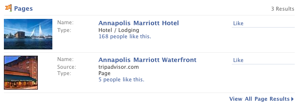 Facebook search results pages