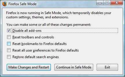 Mozilla Firefox 3 Safe Mode dialog box