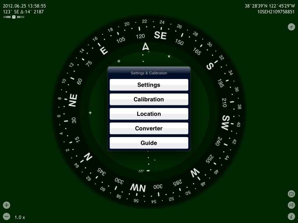 Commander Compass Lite Settings & Calibration menu