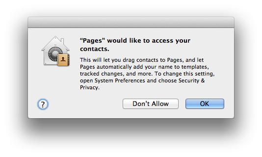 Privacy access request in OS X