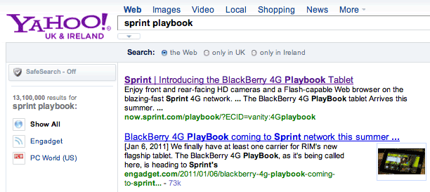 Yahoo's search results discuss Sprint's upcoming 4G version of the RIM BlackBerry PlayBook, though the link leads only to a generic Sprint page.