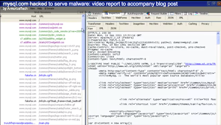 This screenshot is from the Armorize video created to show exactly how a visitor to MySQL.com was infected before the infection was cleaned up.