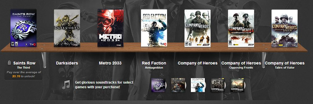 Forget no-name indie games; the Humble THQ Bundle includes some top-rated mainstream titles.