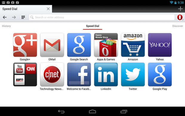Opera for Android.