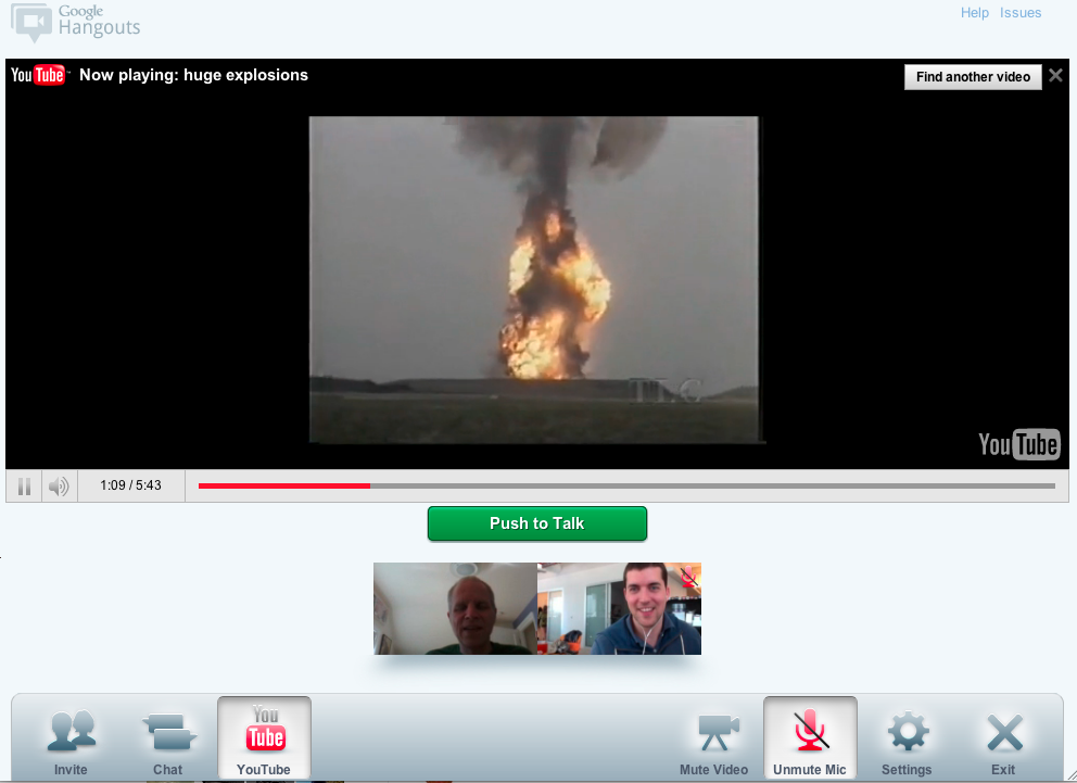 I attempted to keep my colleague Jay Greene entertained by watching videos of giant explosions on YouTube. That's certainly easier than blowing something up in front of your computer to keep the other person entertained.