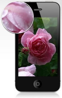 The 940x640-pixel Retina Display on the iPhone 4S integrates 326 pixels per square inch.