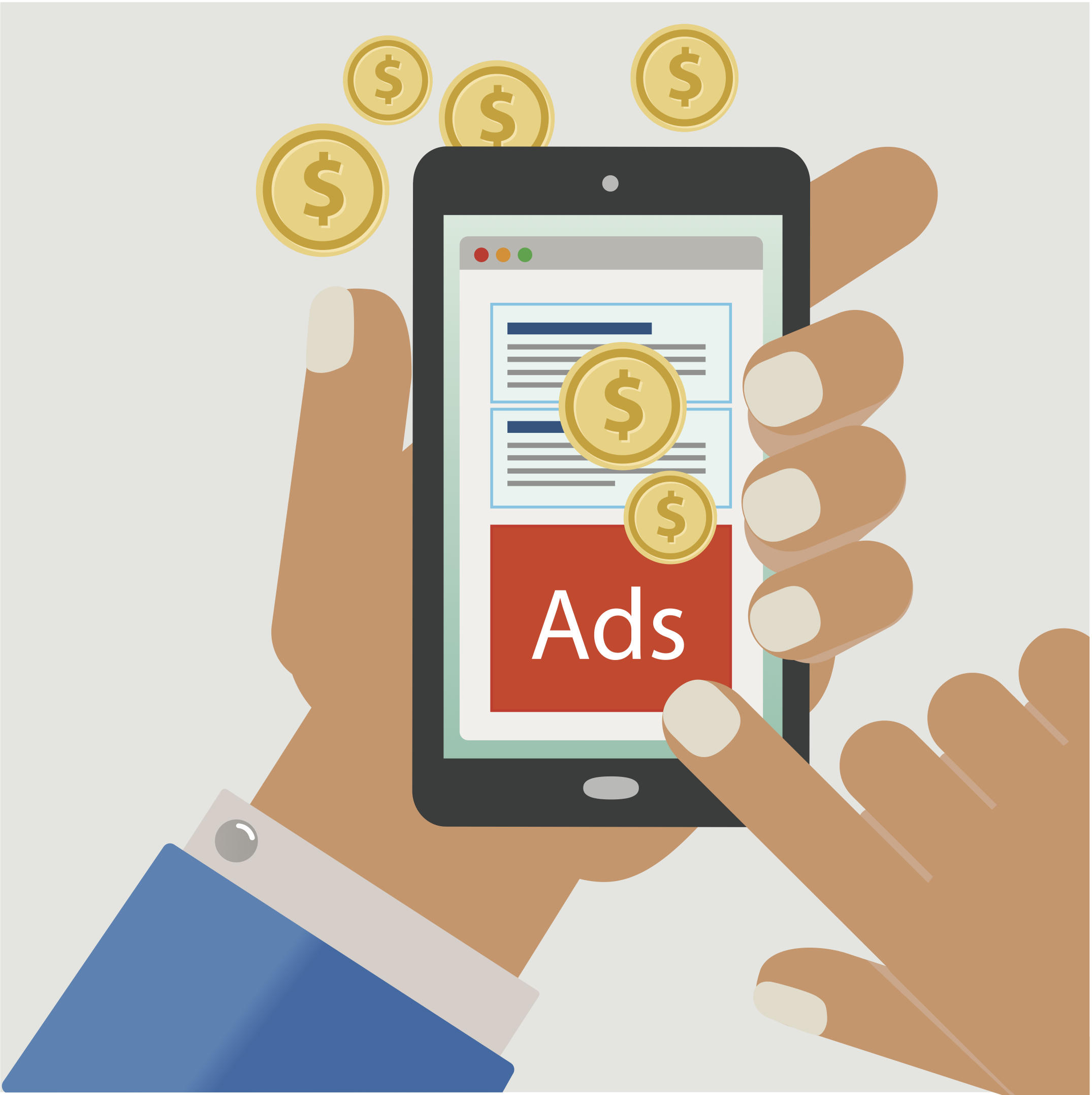 Illustration of a smartphone screen with ads.