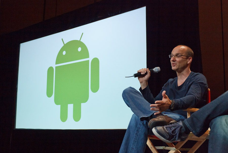 Andy Rubin, leader of Google's Android project, speaks to reporters at Google I/O.
