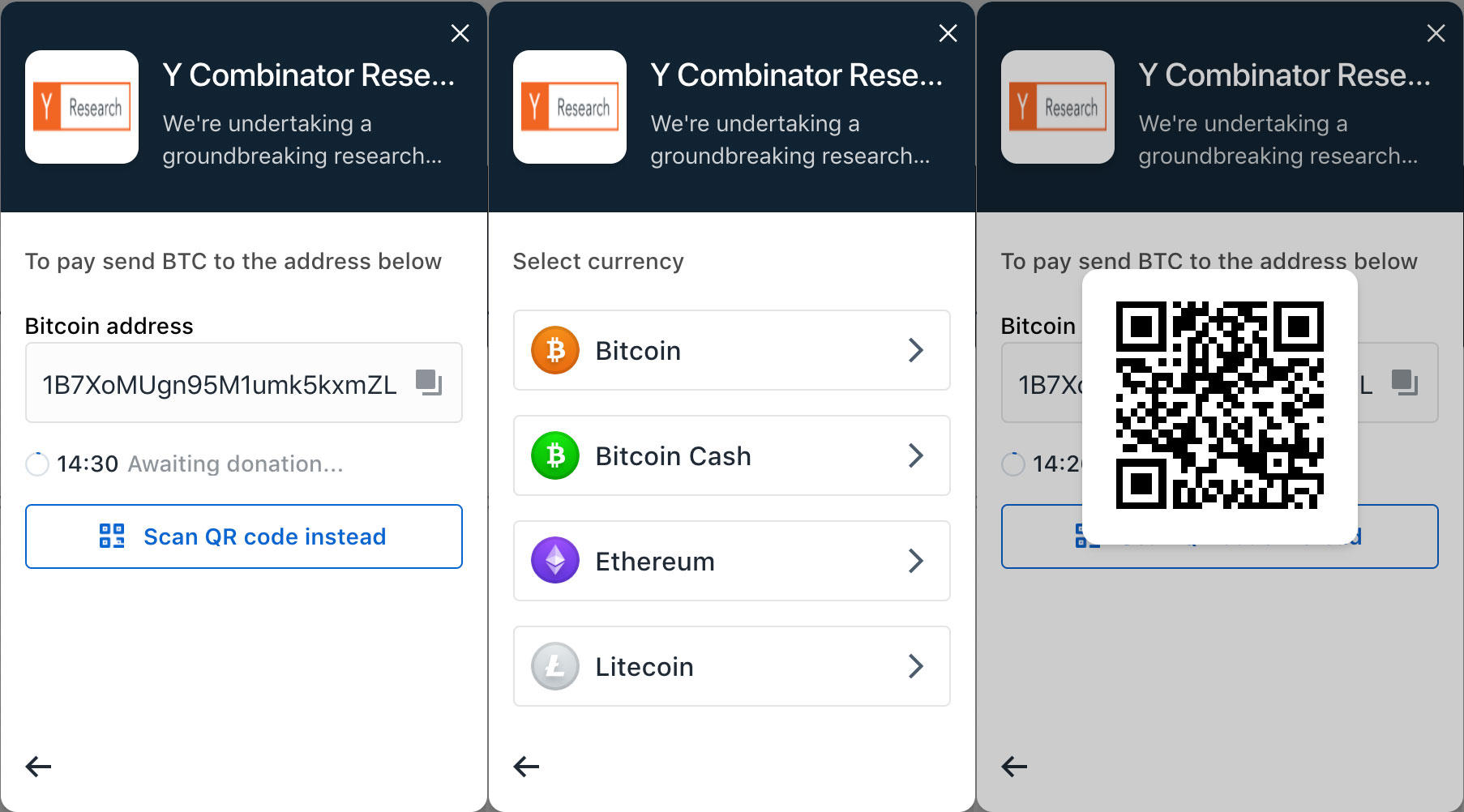 Coinbase Commerce lets you pick a cryptocurrency like bitcoin and then gives you a merchant's destination wallet for payment.