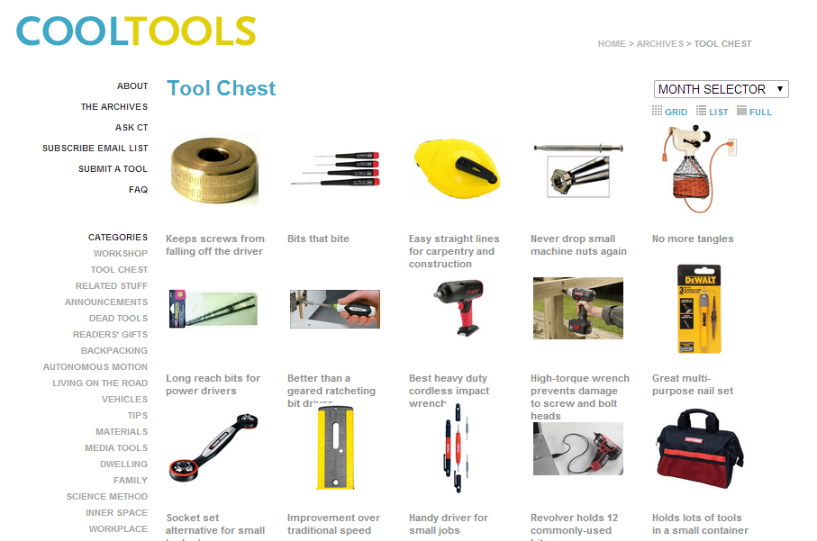 Kevin Kelly's Cool Tools tool chest