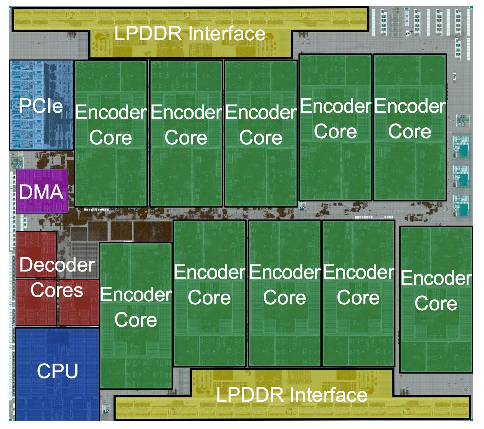 Google designed a chip called Argos to speed video processing at YouTube. Here's the chip's layout.