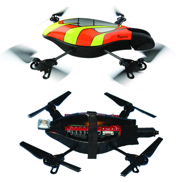 toy helicopter and toy helicopter modified with computer