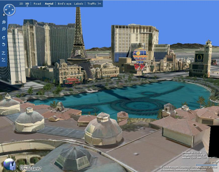 Microsoft's Virtual Earth gives a 3D view of thee world.