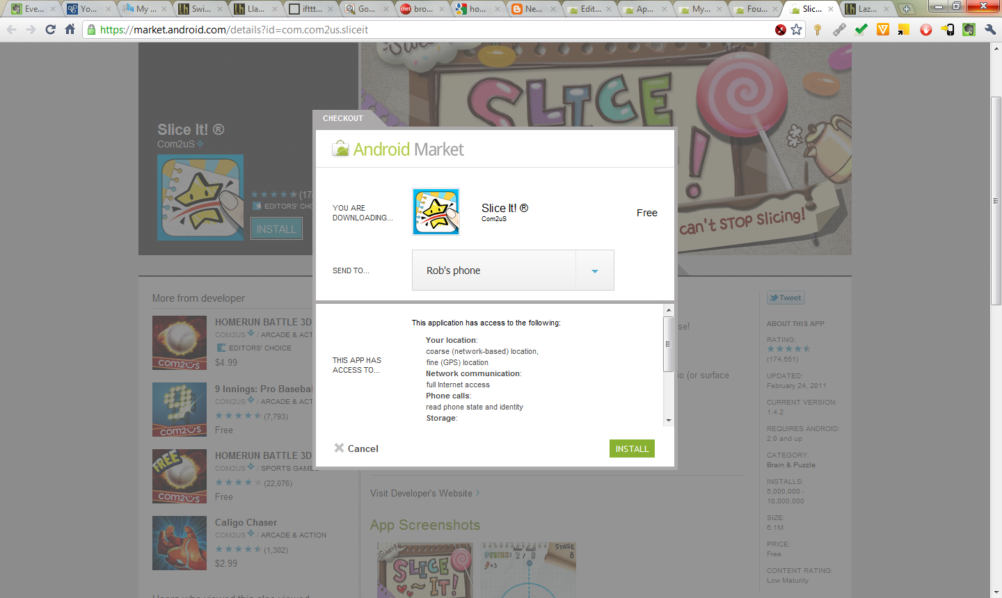 Android Market Install page