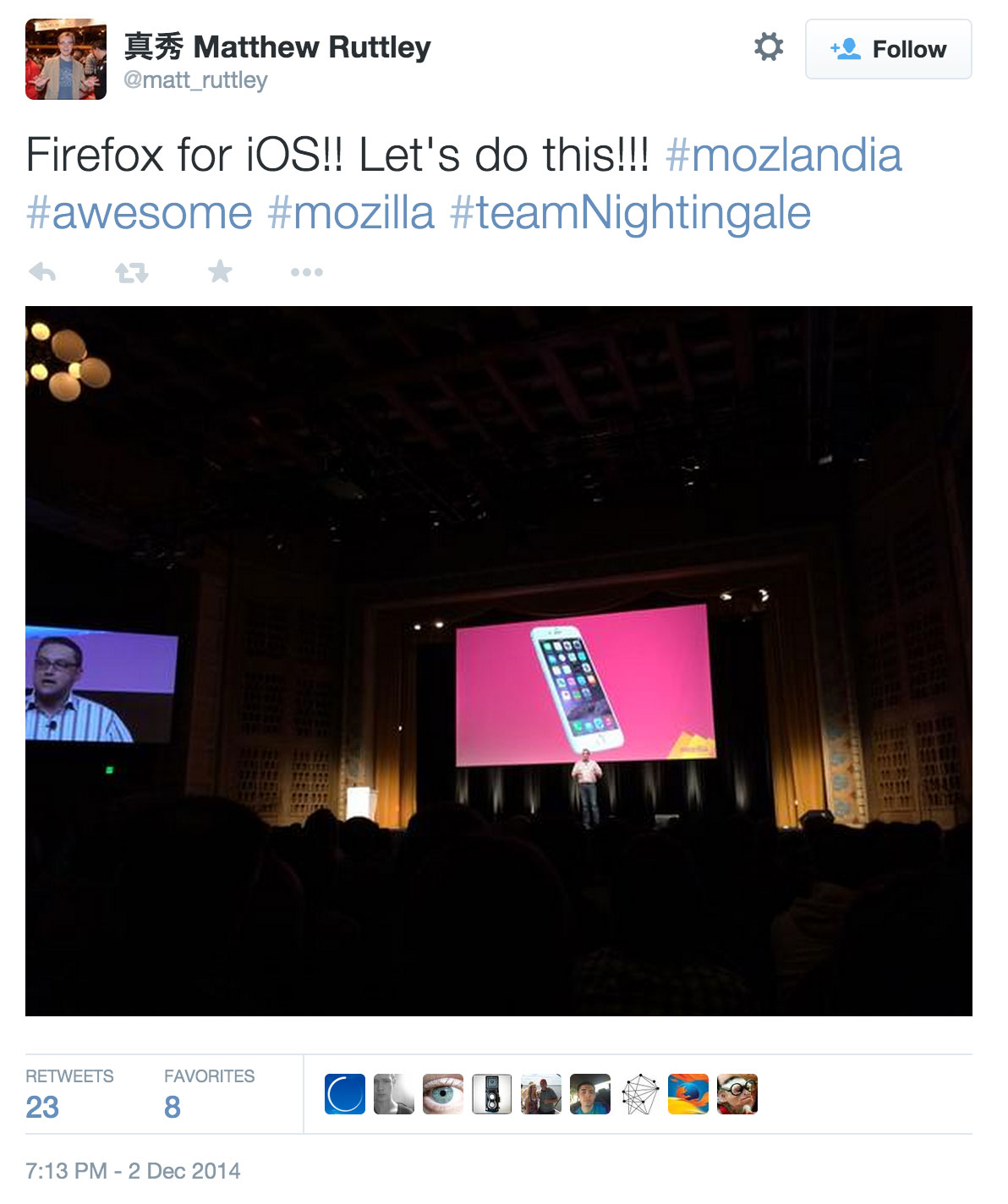 This tweet shows Johnathan Nightingale, vice president of Firefox at Mozilla, stands in front of a photo of an iPhone at Mozilla's Mozlandia event.
