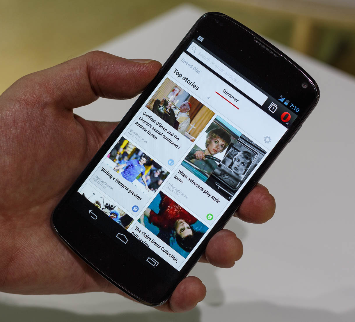 Discovery mode in Opera for Android