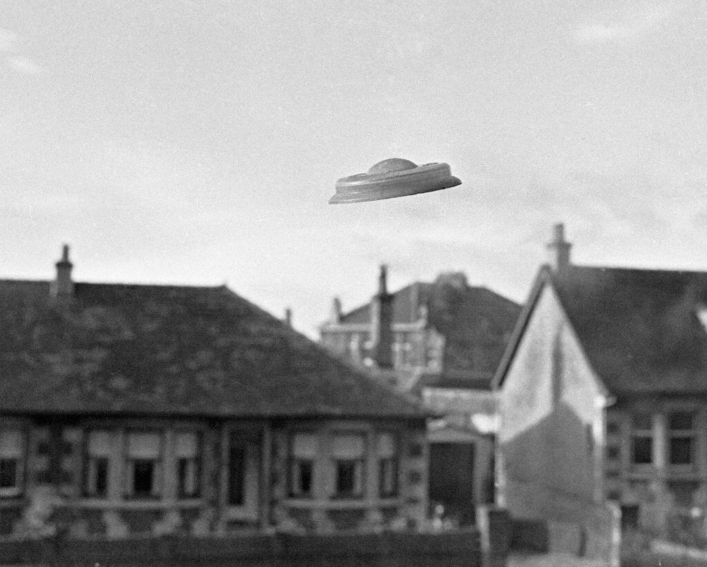 A faked UFO photo created by a small-town newspaper in 1970 to illustrate extraterrestrial visitations.