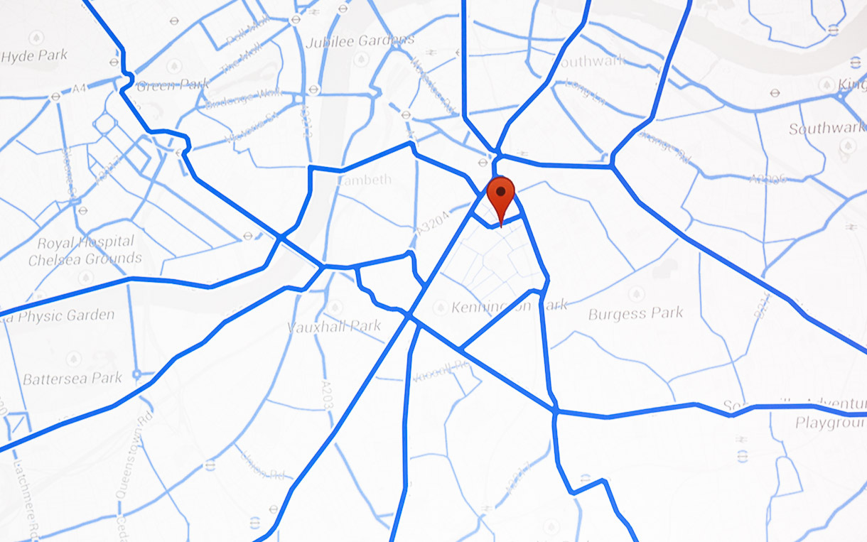Once a person indicates a destination on a map, Google finds all driving data for the vicinity. It then ranks that on popularity to spotlight the most useful navigational routes. Here, the lesser routes are shown in light blue and the top picks in dark blue.