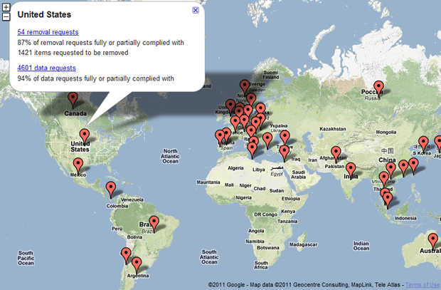 Google's Transparency Report reveals the number of requests for user data by each country.