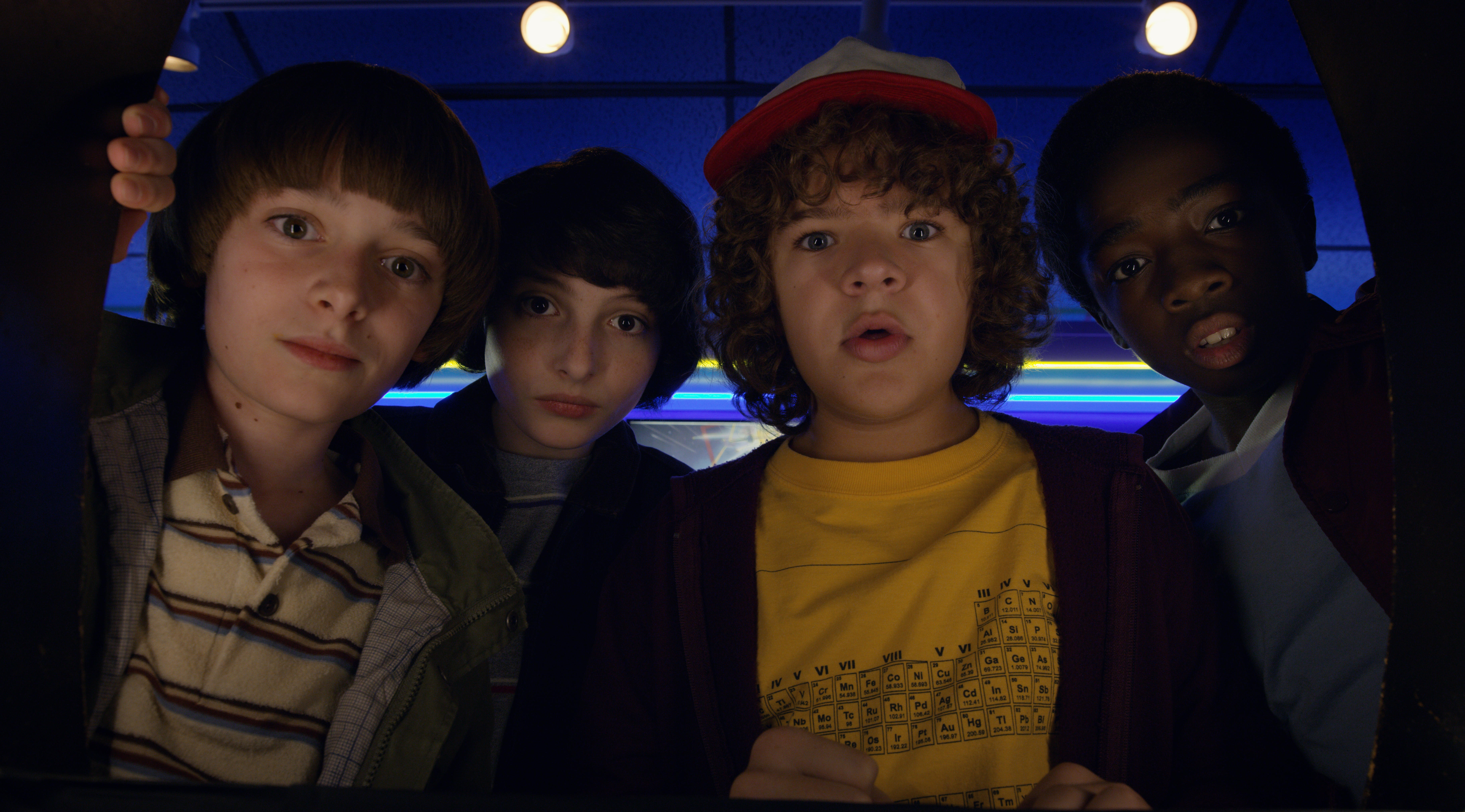 """Child stars of """"Stranger Things 2"""" look into the camera"""