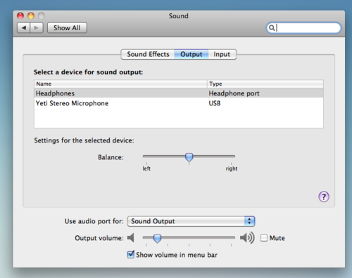 How to select the USB audio device on a Mac.